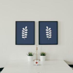 blue and white art - leaves