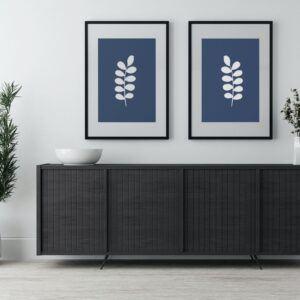 blue & white art - leaves