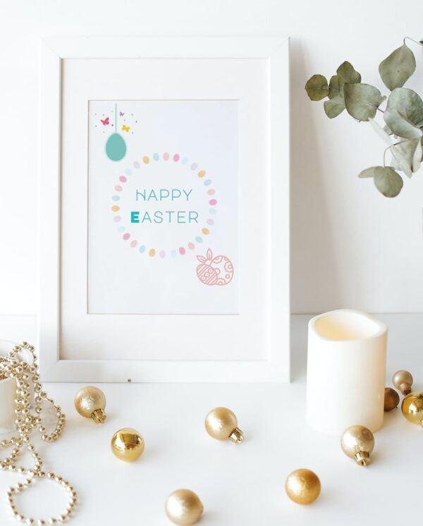 happy Easter blue circle mockups