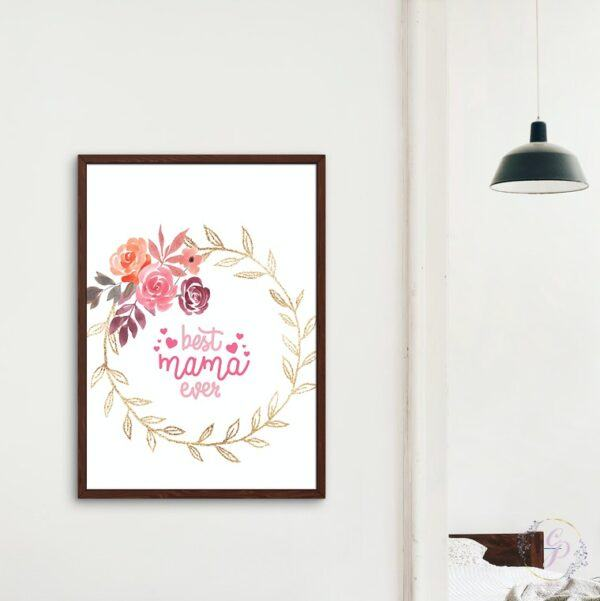 Best Mama Ever Floral Wreath