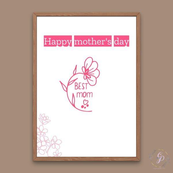Best Mom- Pink Flower Line Art