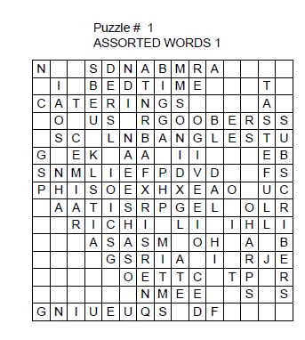 Wordsearch solutions