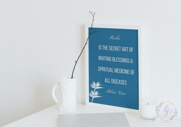 set of 3 Blue & White Mikao Usui Quotes