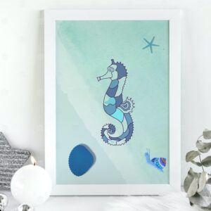Boho Ocean Blue Nursery Seahorse Marine Wall Art