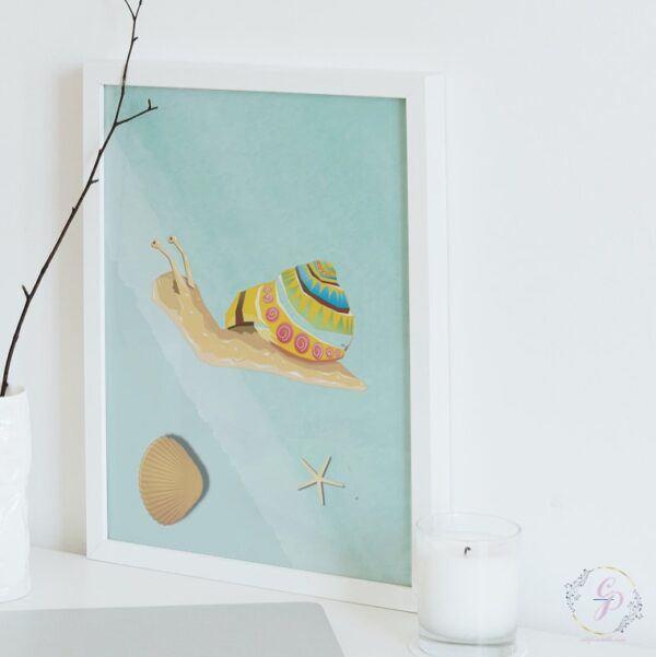 Boho Ocean Blue Nursery Snail Wall Art