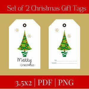 set of 2 christmas gift tags