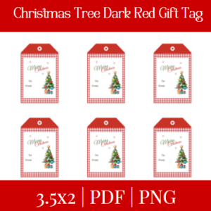 Christmas Tree Dark Red Gift Tag +Free Gift