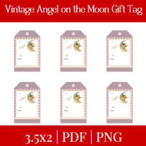 Vintage Angel on the Moon Gift tag
