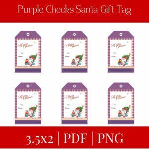 Purple Checks Santa Gift Tag+Free Gift