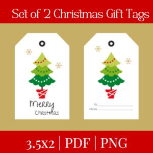Set of 2 Christmas Gift Tags Design 4