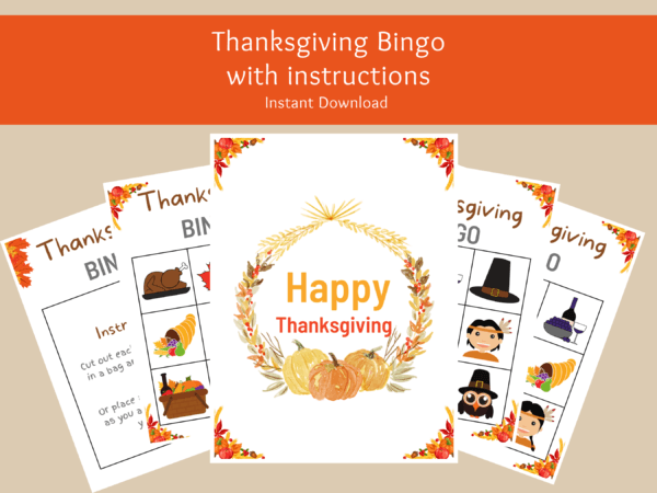 Thanksgiving Bingo Game with Free Wall Art