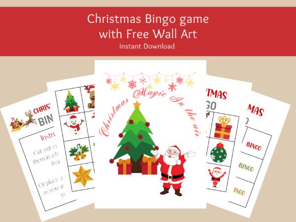Christmas Bingo game with wall art